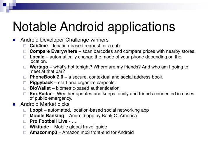 Notable Android applications