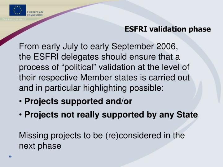 ESFRI validation phase