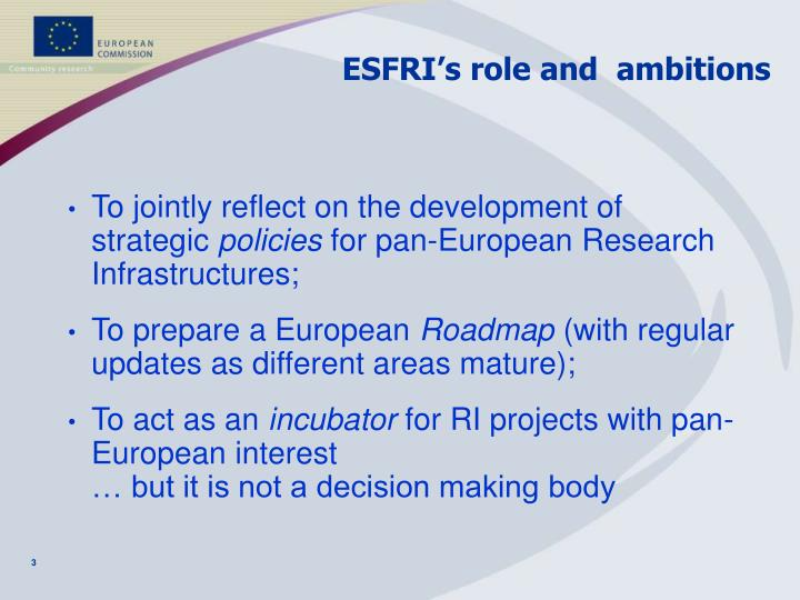 ESFRI's role and  ambitions