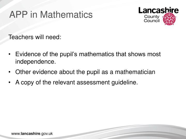 APP in Mathematics