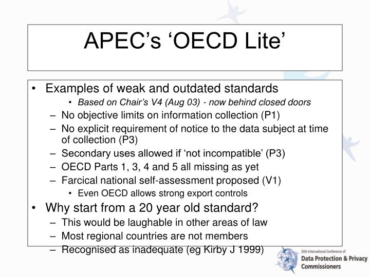 Examples of weak and outdated standards