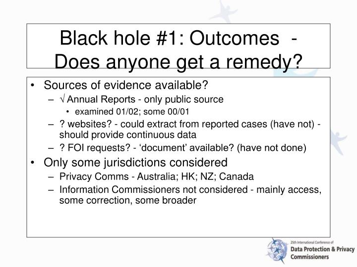 Black hole 1 outcomes does anyone get a remedy