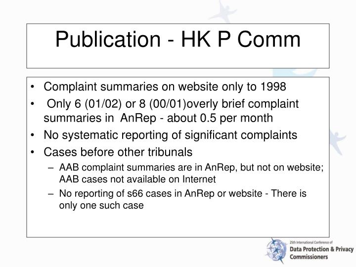 Complaint summaries on website only to 1998
