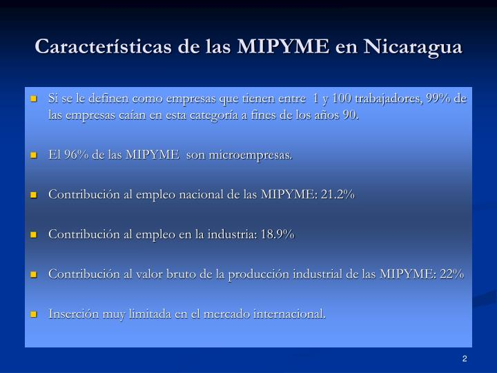 Características de las MIPYME en Nicaragua