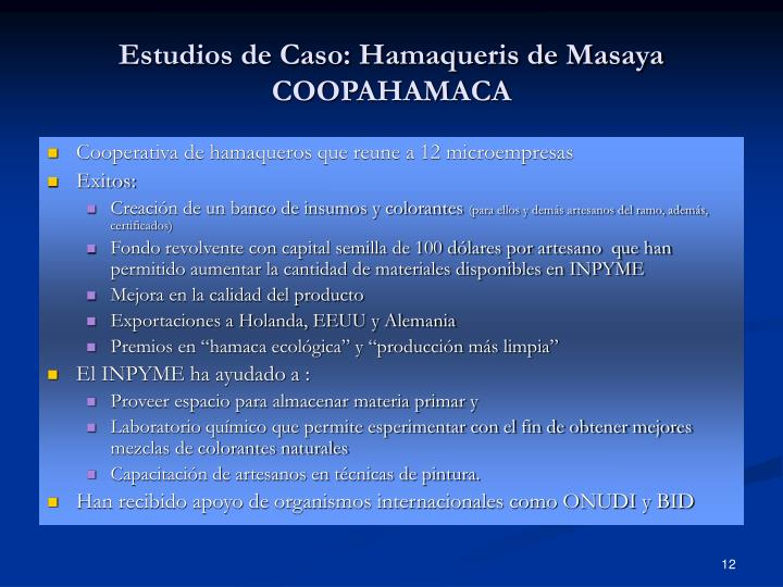 Estudios de Caso: Hamaqueris de Masaya COOPAHAMACA