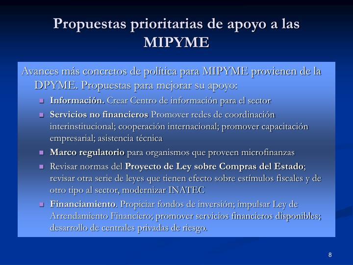 Propuestas prioritarias de apoyo a las MIPYME