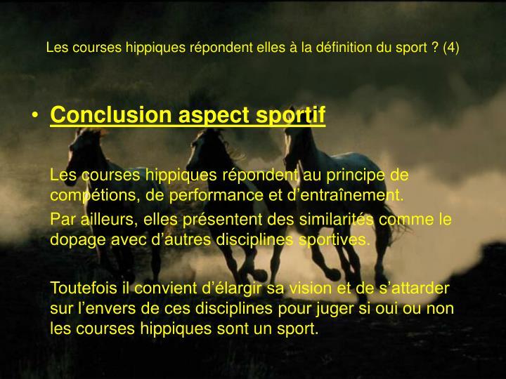 Les courses hippiques répondent elles à la définition du sport? (4)