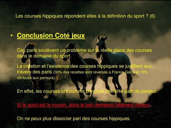 Les courses hippiques répondent elles à la définition du sport? (6)