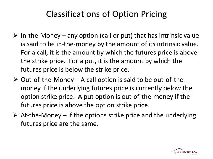 Classifications of Option Pricing