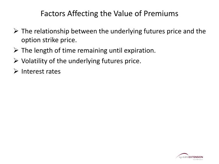Factors Affecting the Value of Premiums
