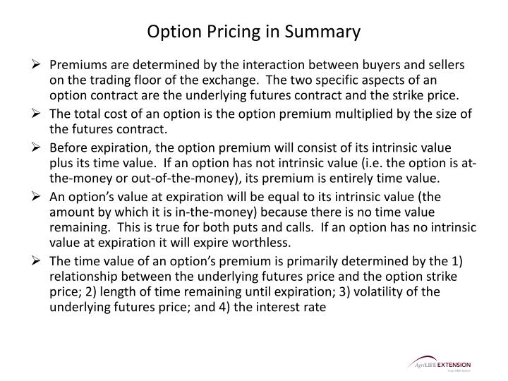 Option Pricing in Summary
