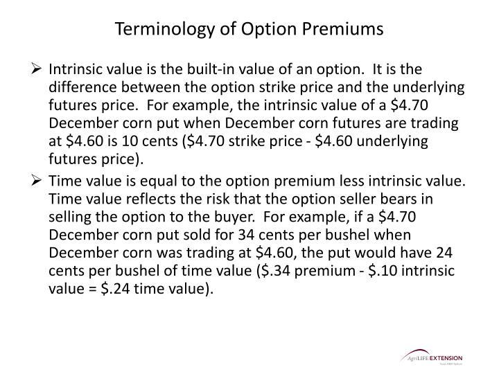 Terminology of Option Premiums