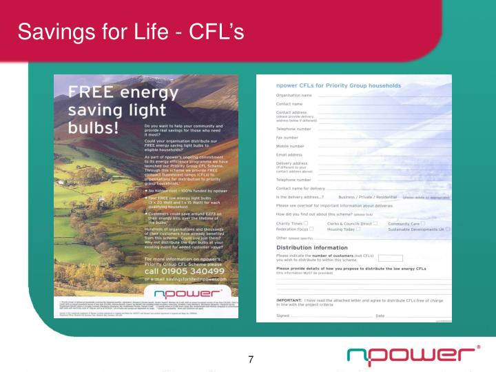 Savings for Life - CFL's
