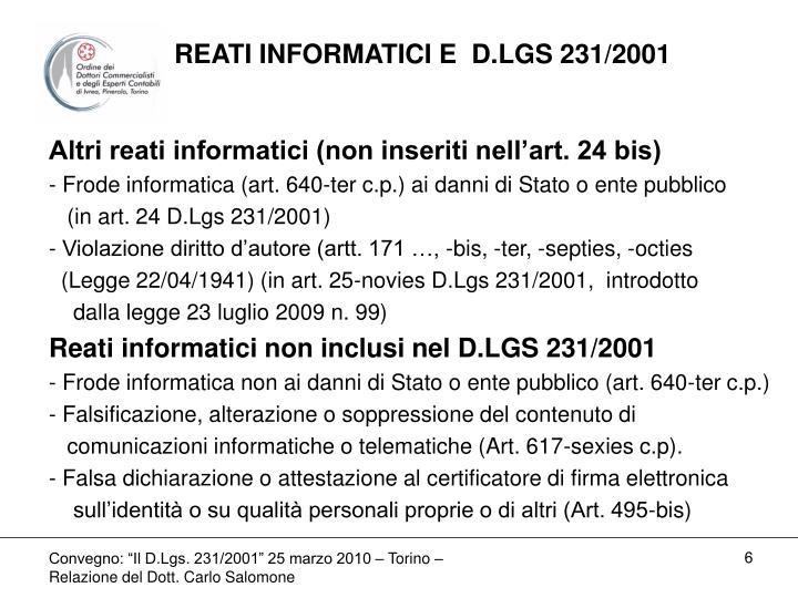 REATI INFORMATICI E  D.LGS 231/2001