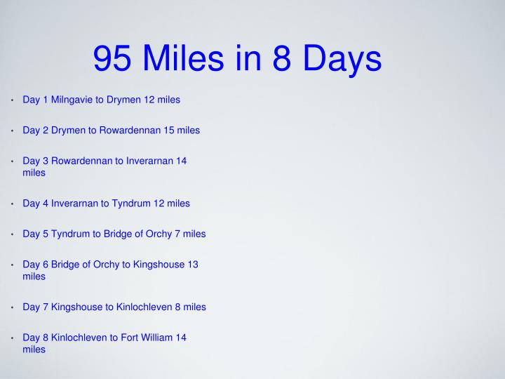 95 miles in 8 days