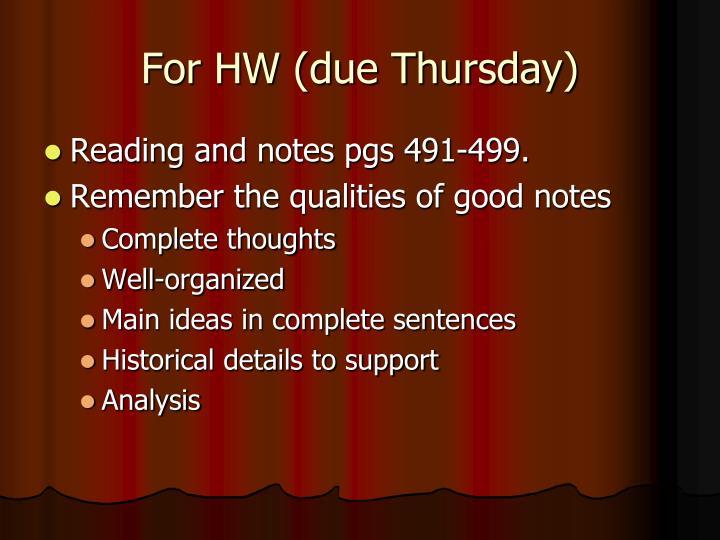 For HW (due Thursday)