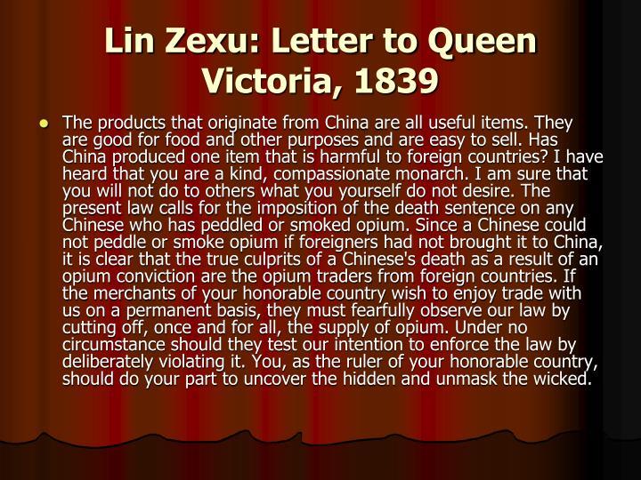 Lin Zexu: Letter to Queen Victoria, 1839