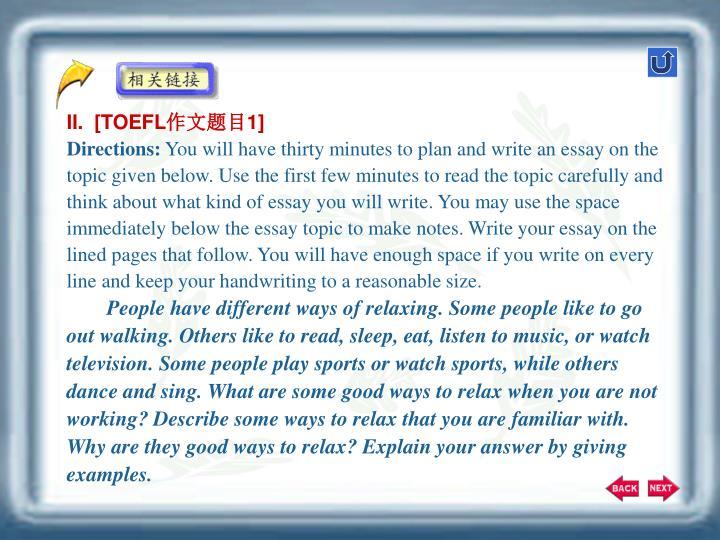 II.  [TOEFL