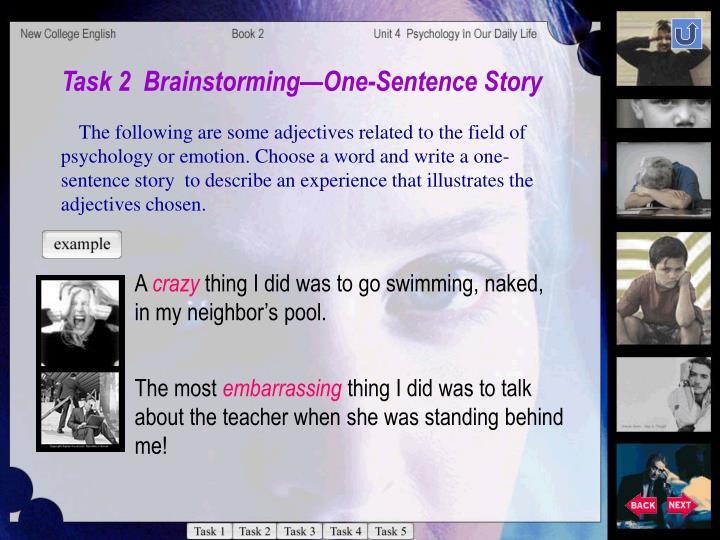 Task 2  BrainstormingOne-Sentence Story