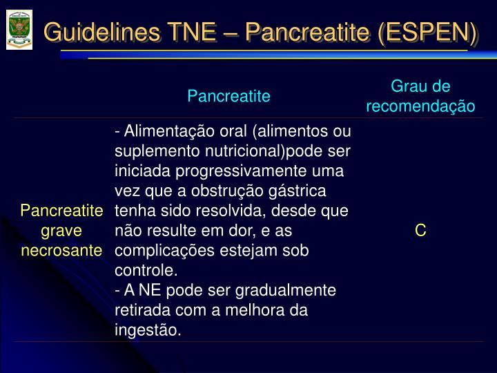 Guidelines TNE – Pancreatite (ESPEN)