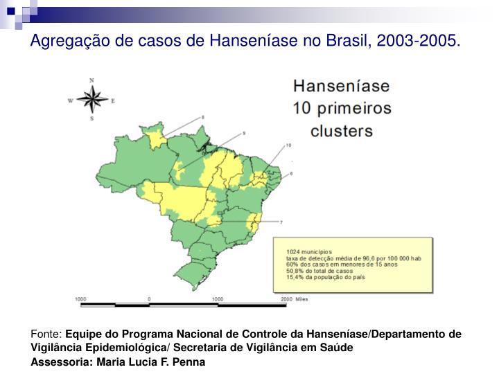 Agregação de casos de Hanseníase no Brasil, 2003-2005.