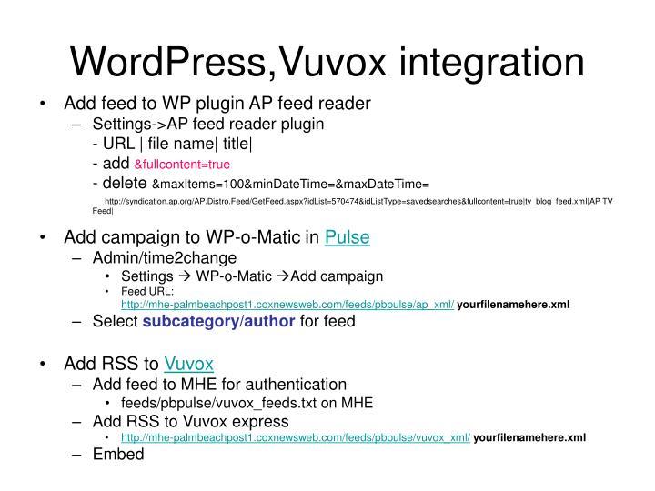 WordPress,Vuvox integration