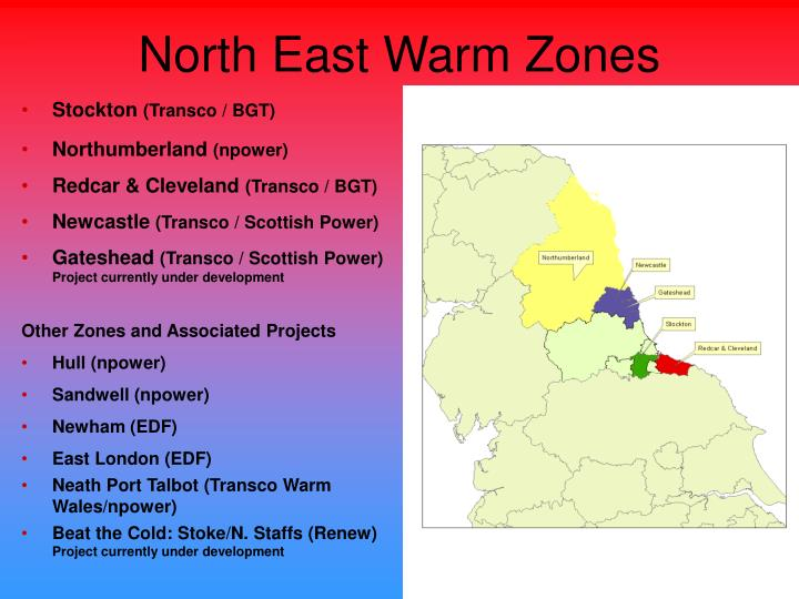 North east warm zones