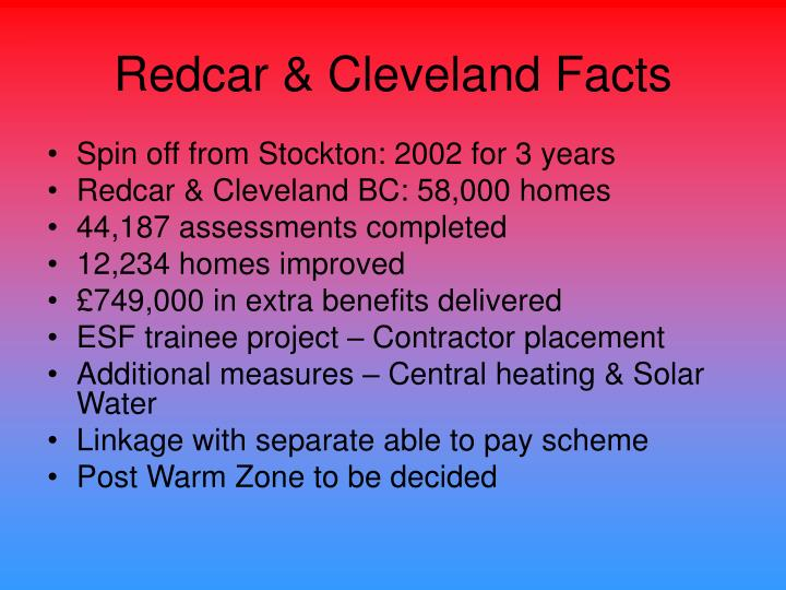 Redcar & Cleveland Facts