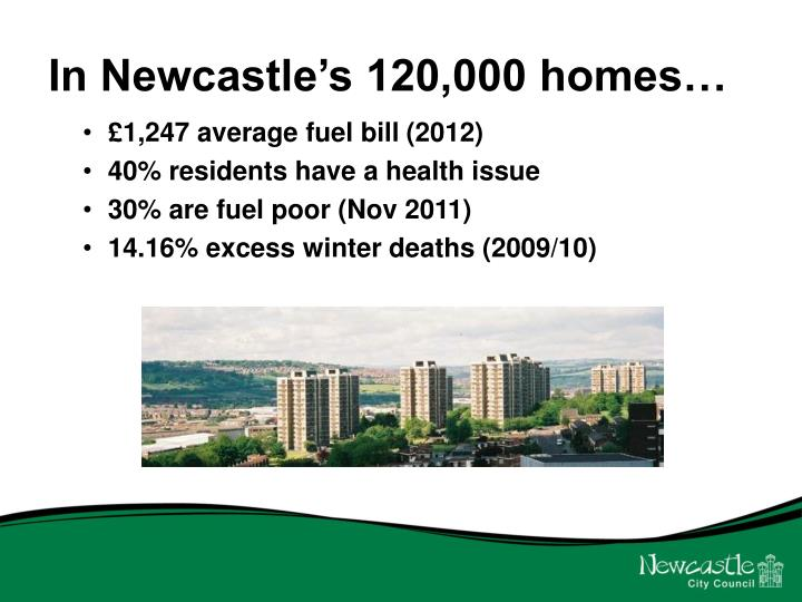 In Newcastle's 120,000 homes…