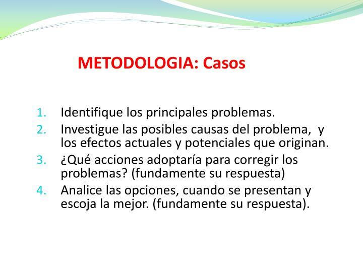 METODOLOGIA: Casos