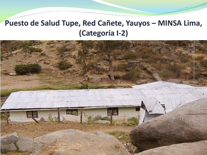 Puesto de Salud Tupe, Red Cañete, Yauyos – MINSA Lima, (Categoría I-2)