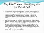 play like theater identifying with the virtual self