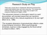 research study on play