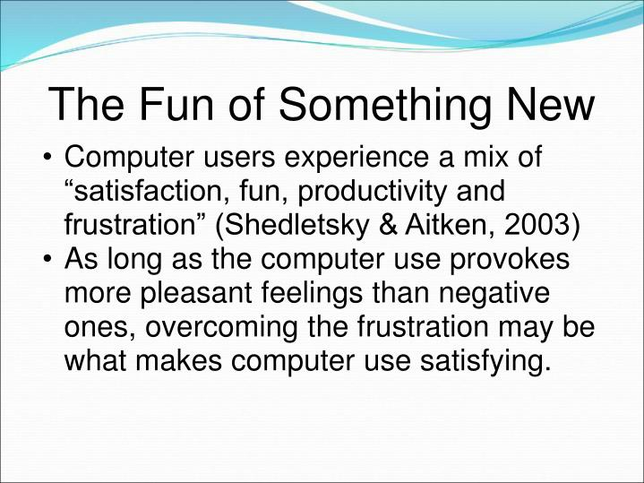 "Computer users experience a mix of ""satisfaction, fun, productivity and frustration"" (Shedletsky & Aitken, 2003)"