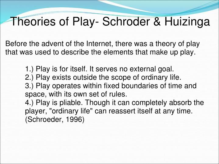 Theories of Play- Schroder & Huizinga