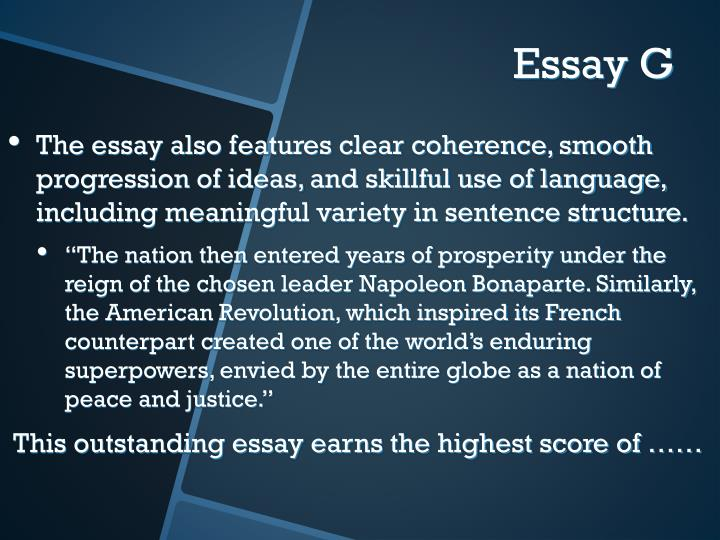 The essay also features clear coherence, smooth progression of ideas, and skillful use of language, including meaningful variety in sentence structure.