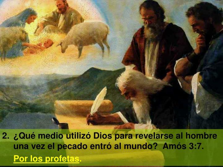 2.¿Qué medio utilizó Dios para revelarse al hombre una vez el pecado entró al mundo?  Amós 3:7.