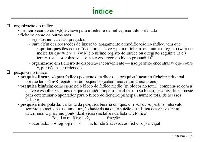 organização do índice