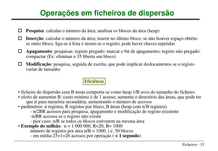 • ficheiro de dispersão com B áreas comporta-se como heap 1/B avos do tamanho do ficheiro