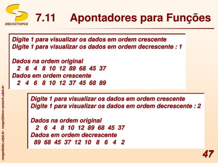 7.11Apontadores para Funções