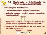 7 2 declara o e inicializa o de vari veis para apontamento