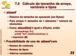 7 6 c lculo do tamanho de arrays vari veis e tipos