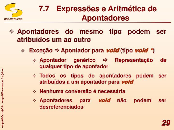 7.7 Expressões e Aritmética de Apontadores