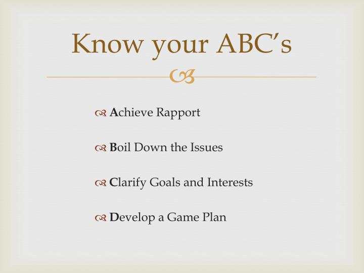 Know your ABC's