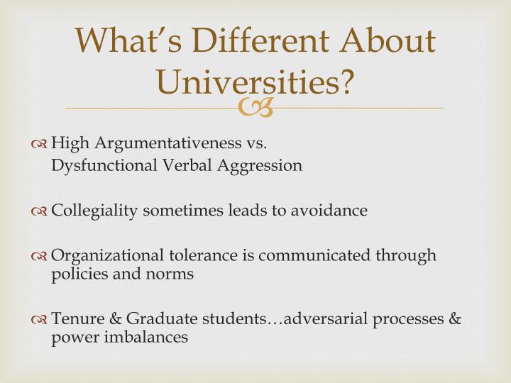 What's Different About Universities?