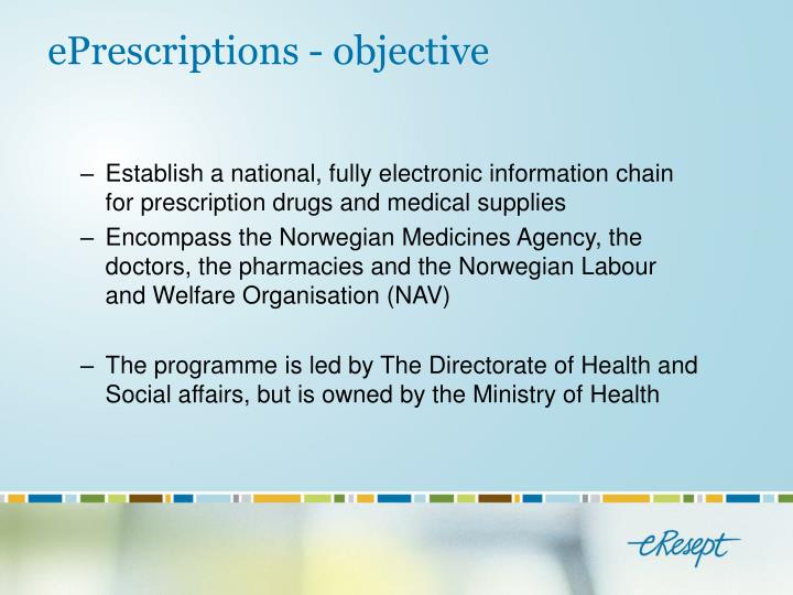 Eprescriptions objective