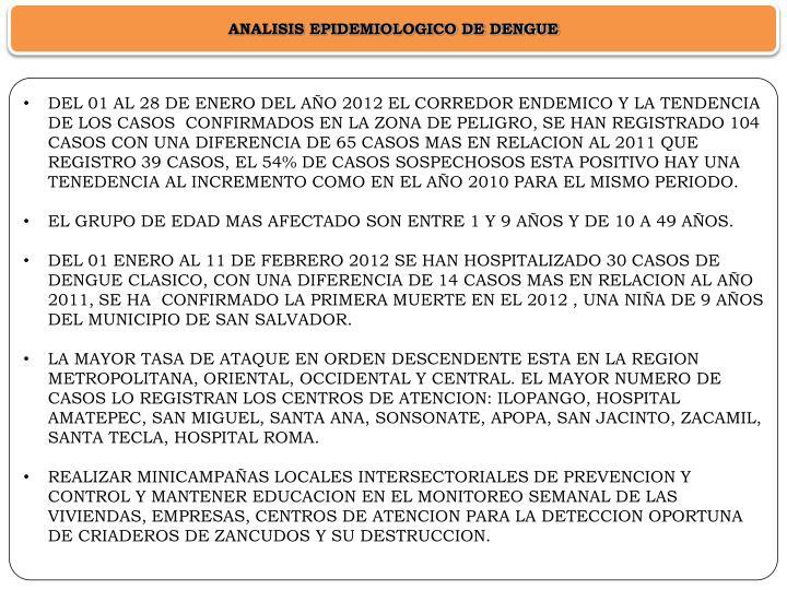 ANALISIS EPIDEMIOLOGICO DE DENGUE
