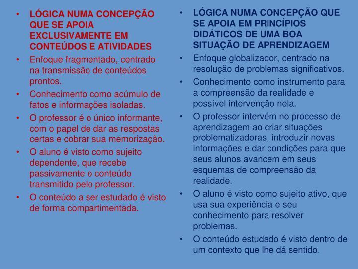 LÓGICA NUMA CONCEPÇÃO QUE SE APOIA EXCLUSIVAMENTE EM CONTEÚDOS E ATIVIDADES