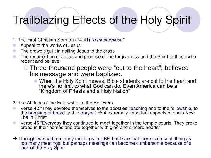 Trailblazing Effects of the Holy Spirit