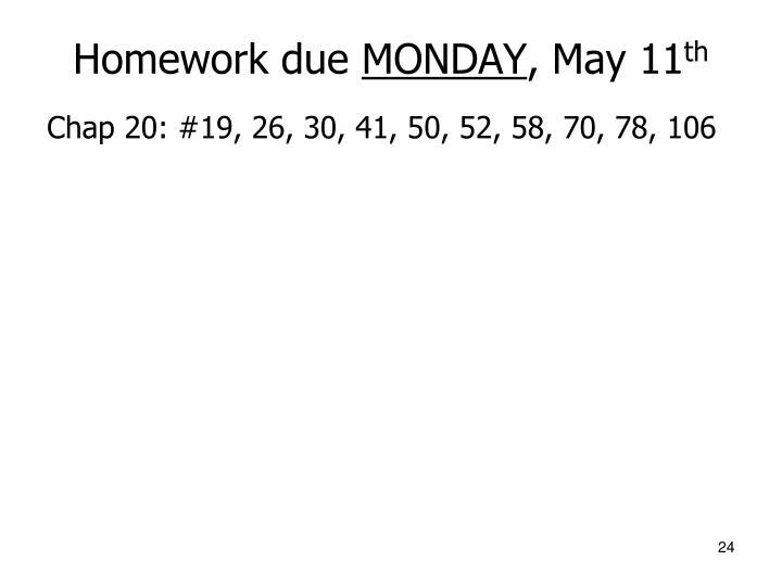 Homework due